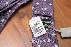 Cravate À Col En Soie Jacquard Imprimée Tom Ford Mauve, Taches Blanches, 295 $ Fabriqué En Italie