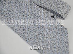 Cravate Auth Gucci Neuve, Motif Logo Et Logo Gg, En Soie Tissée, Bleu Et Gris