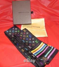 Cravate Bandeau Écharpe Multicolore Louis Vuitton 100% Soie Fabriqué En Italie