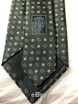 Cravate Craie 349394 En Mélange De Soie Pour Hommes, Gucci Gg & Daisy, En Vert Et Bleu Multicolore