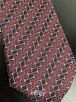 Cravate Craie En Soie Pour Hommes Nwt Gucci En Rayure Multicolore Rouge Bordeaux + Reçu Cadeau