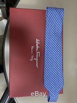 Cravate En Soie 4x56 Cravate En Soie Pour Hommes Salvatore Ferragamo Bleu