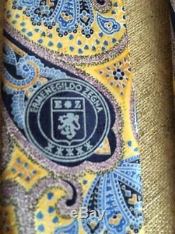 Cravate En Soie À Motif Fantaisie Multicolore Paisley Fantaisie Tn-o. Ermenegildo Zegna, Italie
