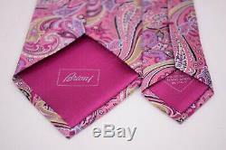 Cravate En Soie Brioni En Luxe Paisley Rose Multicolore De Couleur Vert Fabriquée En Italie