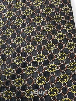 Cravate En Soie Gg Guccissima Neck Pour Hommes, Noir Et Gucci, 351796, Noir Et Jaune