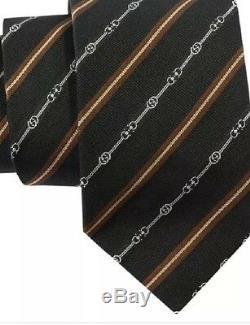 Cravate En Soie Tissée G Horsebit Imbriquée Gucci, Multicolore