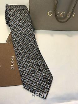 Cravate Homme Gg Guccissima De La Soie Gucci Nwt 351796 En Bleu Marine Et Or + Reçu