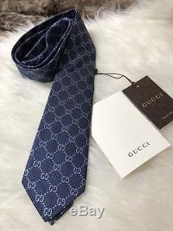 Cravate Homme Gg Guccissima En Soie Gg Gucci 408865 En Bleu Marine Et Bleu Multicolore