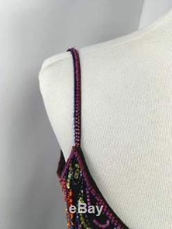 Cravate Noire Vintage Oleg Cassini Robe De Cocktail En Soie À Petites Perles Et Sequins Sz 8