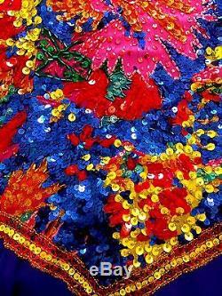 Cravate Noire Vintage Oleg Cassini Robe De Cocktail En Soie Et Perles Multicolores Sz 6