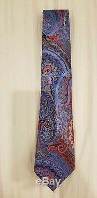 Cravate Paisley Rouge Et Multicolore Ermenegildo Zegna Quindici Édition Limitée Nouveau