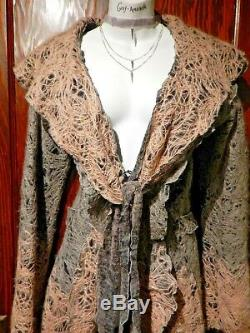 Decjuba Angora / Silk Veste Dip-colorant De La Couche De Cardigan Plumeau Robe Longue S 1d