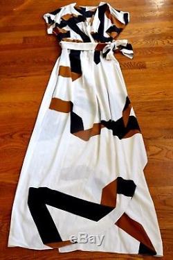 Diane Von Furstenberg Dvf Ethyl Ruban Placement Wrap Cravate Longue Maxi Soie Robe 4