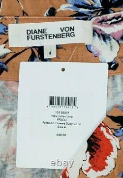 Diane Von Furstenberg Dvf New Julian Long Silk Jersey Wrap Maxi Robe Taille 4