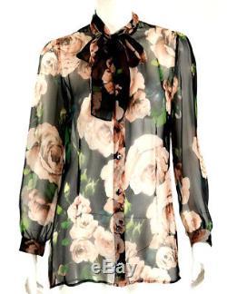 Dolce & Gabbana Multicolore Roses Floral Soie Mousseline De Soie Tie Neck Blouse 46