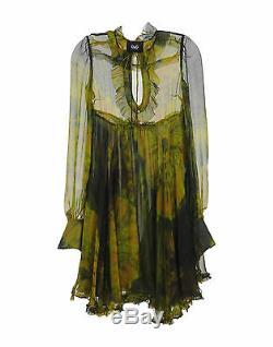 Dolce Gabbana - Robe À Manches Longues Imprimée Teintée En Soie D & G Multicolore