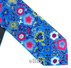 Duchamp London, Cravate Faite Main De Fleurs Multicolore'exotiques Rares Faites À La Main