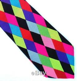 Duchamp London, Cravate Mega Rare 'arlequin' Multicolore À La Main, Faite À La Main