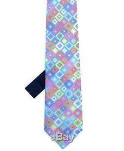 Duchamp London, Cravate Rare Vibrant Blue & Multicolor'cubic Square ', Bretelle