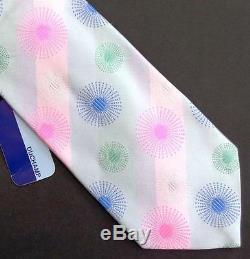 Duchamp London, Superbe Cravate Multicolore D'étoile Bleue Avec Étiquette Bleue