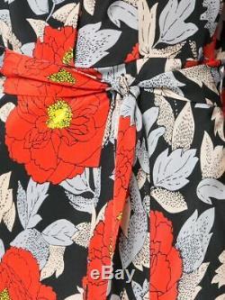 Dvf Diane Von Furstenberg Floral Print Studio 54 Robe 70 Tie Maxi Taille 12 L
