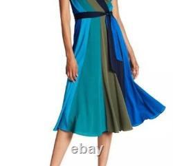 Dvf Diane Von Furstenberg Penelope Colorblock Silk MIDI Wrap Dress Sz 4 6