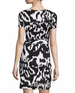 Dvf Diane Von Furstenberg Robe Zoe Side Tie À La Taille En Jersey Floral Ikat Noir 378 $