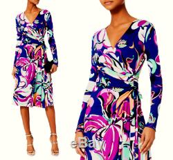 Emilio Pucci Wrap Effet Aruba Imprimé Robe Jersey Stretch Us 10-12 / It 46 1310 $