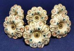 Ensemble De 6 Attaches De Rideau En Céramique Antique Avec Garniture En Laiton, Fleurs Et Or