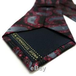 Ermenegildo Zegna Cravate En Soie Intense Crimson Steel Floral Multicolor Paisley