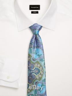 Ermenegildo Zegna Cravate En Soie Verte Bleue Quindici Édition Limitée Nwt Auth