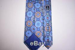 Ermenegildo Zegna Nwot Quindici Cravate 100% Soie Bleu Avec Multicolor Géométrique
