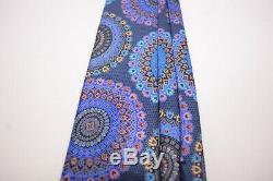 Ermenegildo Zegna Quindici Cravate 100% Soie Bleu Avec Des Médaillons Multicolores