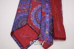 Ermenegildo Zegna Quindici Cravate 100% Soie Rouge Imprimé Multicolore