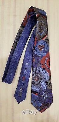 Ermenegildo Zegna Quindici Cravate À Fleurs Bleue Et Multicolore En Édition Limitée Nouveau