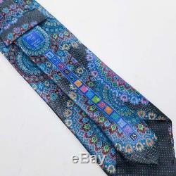 Ermenegildo Zegna Quindici - Cravate En Soie À Imprimé Médaillon Bleu Noir Et Rouge