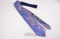 Ermenegildo Zegna Quindici Cravate En Soie Bleu Avec Paisley Multicolore Intense