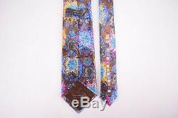 Ermenegildo Zegna Quindici Cravate En Soie En Brun Avec Un Design Hawaiian Multicolore