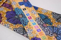 Ermenegildo Zegna Quindici Cravate En Soie Jaune Avec Thème Multicolore Hawaïen