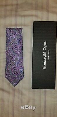 Ermenegildo Zegna Quindici Cravate Géométrique Rose & Multicolore Édition Limitée Nouveau