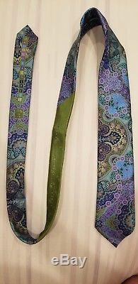 Ermenegildo Zegna Quindici Cravate Paisley Vert Et Multicolore Édition Limitée Nouveau