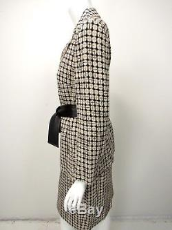 Escada Beige Blanc Noir Géométrique Laine En Cuir Cravate Ceinture Costume 38 40 8 10