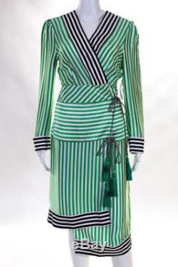 Etro Robe Pour Femme Taille Italienne 46 Vert Blanc Noir Soie Rayée Wrap Tied Nouveau
