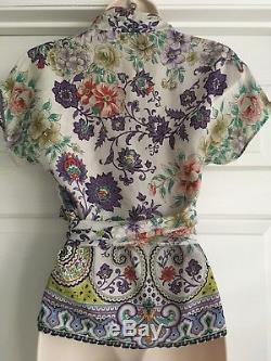 Etro Soie Floral Imprimer Faux Wrap Tie Blouse Multi Couleur Sz 42 Us 6