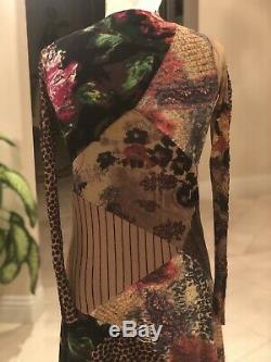 Fizzi Jean Paul Gaultier Robe De Maille Vintage Taille Imprimé Animal Manches Longues Xs