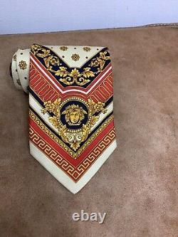 Gianni Versace 100% Soie Medusa Cravate Cravate Made In Italy