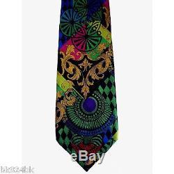 Gianni Versace Cravate En Soie Tissée Multicolore, Style Baroque Vintage