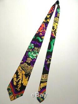 Gianni Versace Vintage'90s Cravate De Nuit Florale Baroque Multi Couleur Fleur Italie
