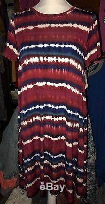 Grande Robe Carla Lularoe 2018 Americana American Dreams Cravate Dye Rouge. Taille Large