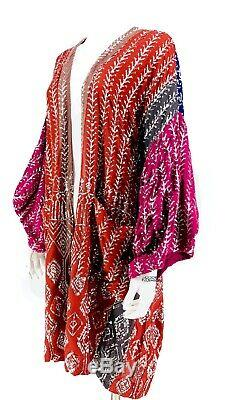 Gratuit Paillette Agrémentée Kimono Sz M Cardigan Medium Gypsy Festival De Boho